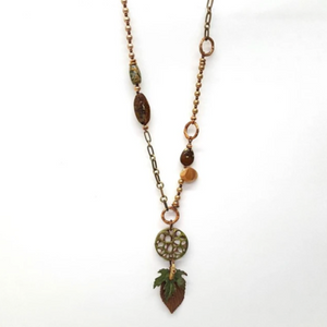 FOREST BEAD & CHAIN PENDANT NECKLACE BY TRESKA