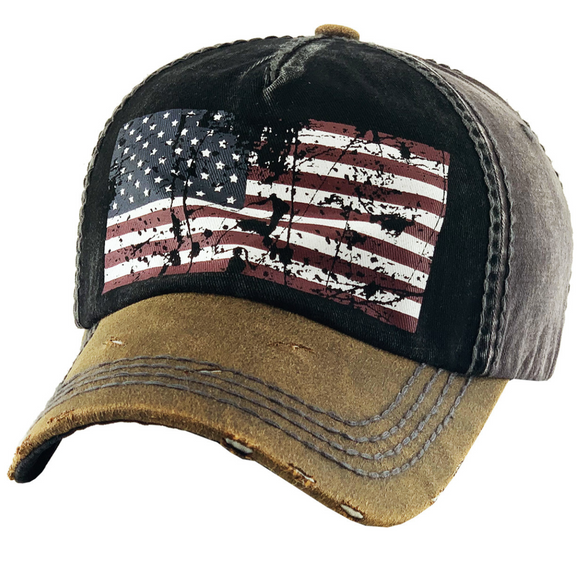 DISTRESSED FLAG BASEBALL HAT/CAP