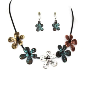 MULTI-COLOR FLOWERS ON BLACK CORD NECKLACE SET