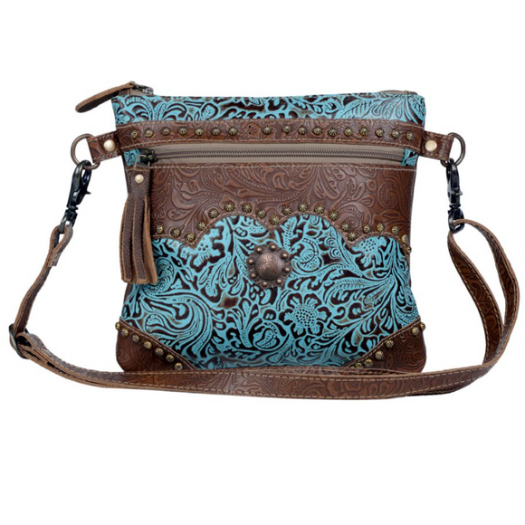 AZURE AESTHETIC LEATHER & HAIR ON BAG by MYRA BAGS