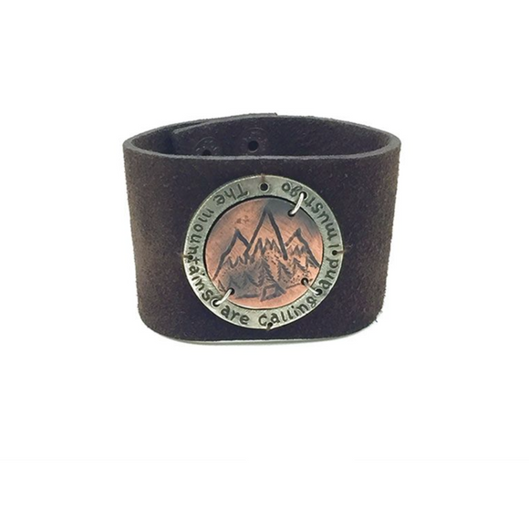 HANDMADE MOUNTAINS ARE CALLING LEATHER BRACELET