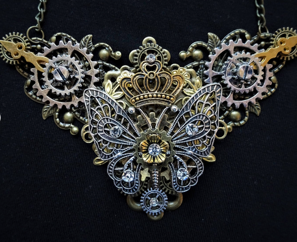 BUTTERFLY STEAMPUNK PENDENT NECKLACE