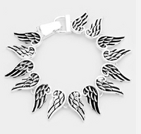 SILVER ANGEL WINGS MAGNET BRACELET