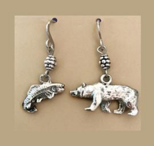 HANDCRAFTED MISMATCH BEAR & FISH EARRINGS (Stainless Steel)