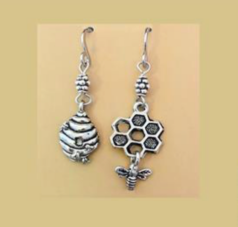 HANDMADE MISMATCH HONEY COMB AND BEE EARRINGS (STAINLESS STEEL)