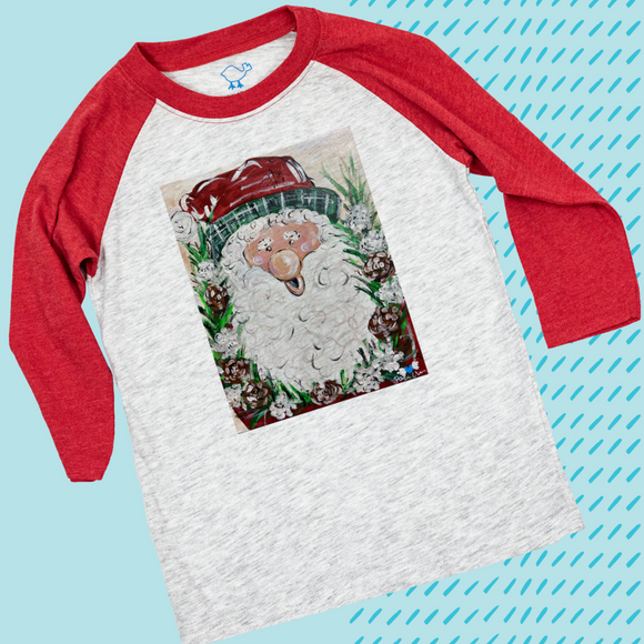 BIG NOSE SANTA on RED RAGLAN