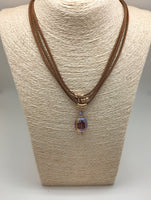 HANDCRAFTED 3 LAYERED SUEDE NECKLACE WITH CRYSTAL DROP