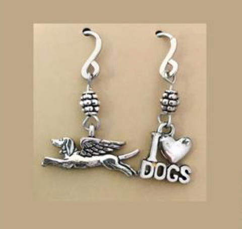 HANDMADE MISMATCH ANGEL DOG & LOVE EARRINGS (STAINLESS STEEL)