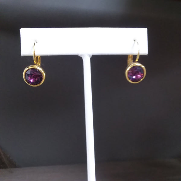 SWAROVSKI EARRINGS - BLUE & PLUM