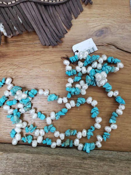TURQUOISE & FRESH WATER PEARL NECKLACE