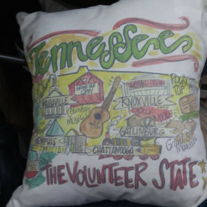 TENNESSEE ROAD MAP PILLOW