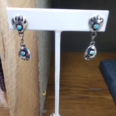 S/S BEAR PAW DANGLE (DOUBLE) EARRINGS