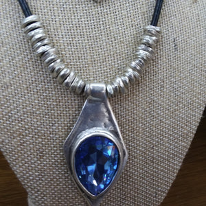 TURKISH SILVER WITH BLUE STONE SET (NEC/EAR)