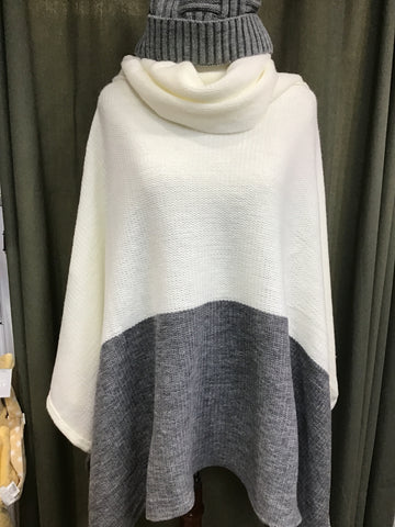 PONCHO - CREAM/GRAY