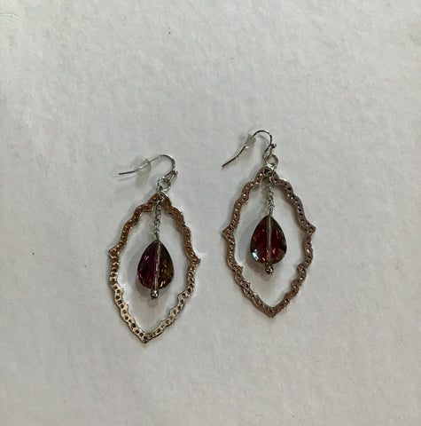 HANDCRAFTED SCALLOPED CRYSTAL DANGLE