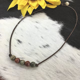 HANDMADE PRECIOUS STONES ON LEATHER CORD NECKLACE BY CAROL SU