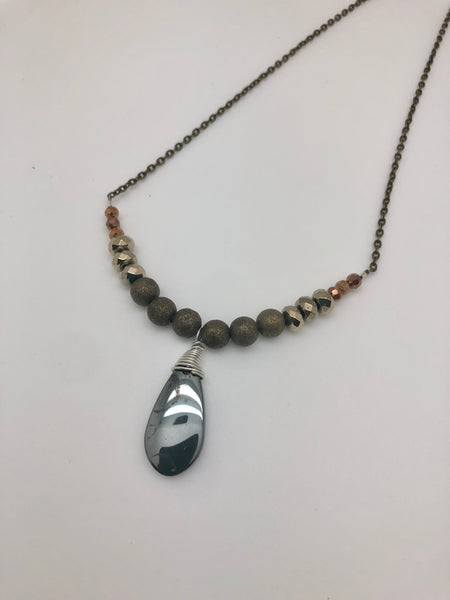HANDCRAFTED PYRITE MIXED METAL NECKLACE