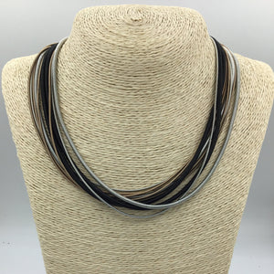 SEA LILY BRONZE & BLACK PIANO WIRE KNOT NECKLACE