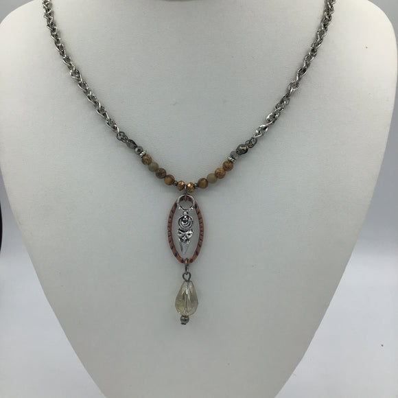 HANDMADE CHAIN WITH BEADED FRONT & DANGLE DROP NECKLACE