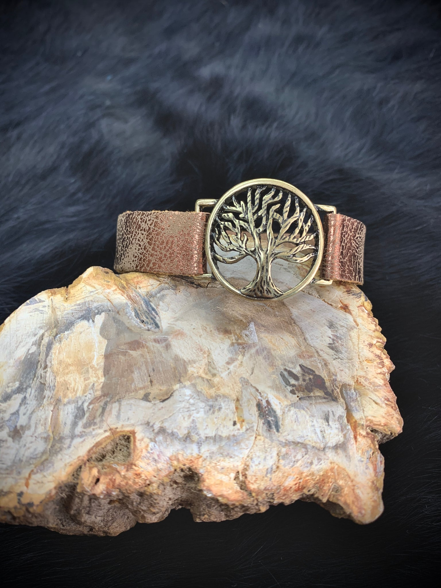 "1"" HAMMERED SILVER & GOLD TREE OF LIFE"