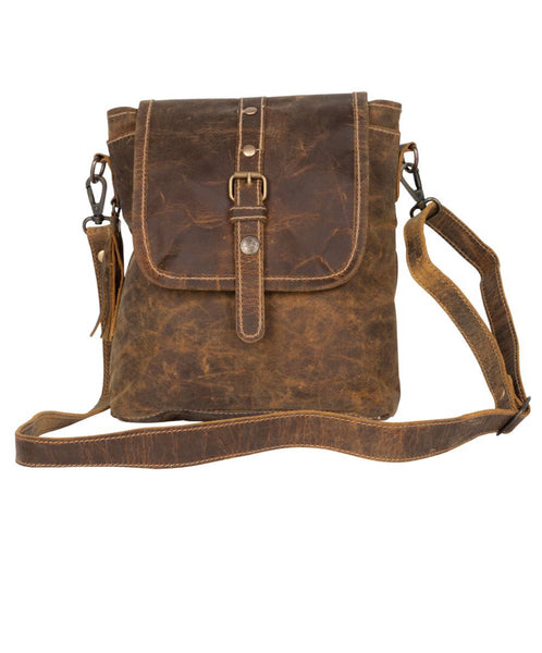 BROWN BEAUTY ALL LEATHER CROSSOVER BY MYRA BAGS