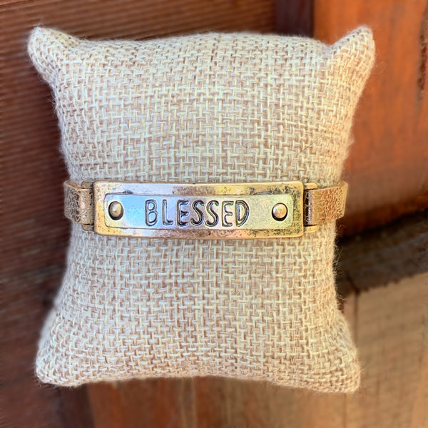 HAMMERED LEATHER - BLESSED RECTANGLE BRACELET