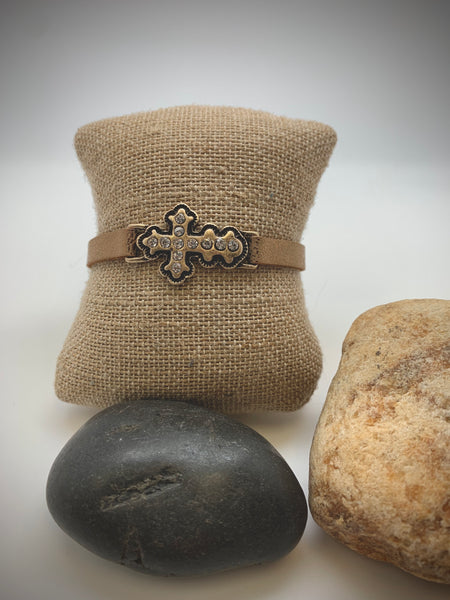 RHINESTONE CROSS ON HAMMERED LEATHER BRACELET