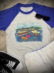 PARTY COVE USA SHORT SLEEVE RAGLAN  T-SHIRT