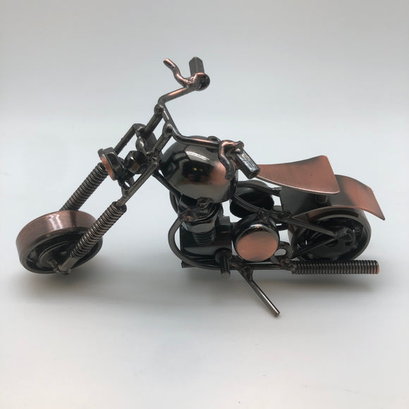 METAL BIKE MODEL WITH BRUSH COPPER ACCENTS
