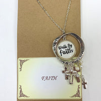 WALK BY FAITH MESSAGE NECKLACE