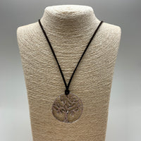 BROWN SUEDE SILVER TREE OF LIFE
