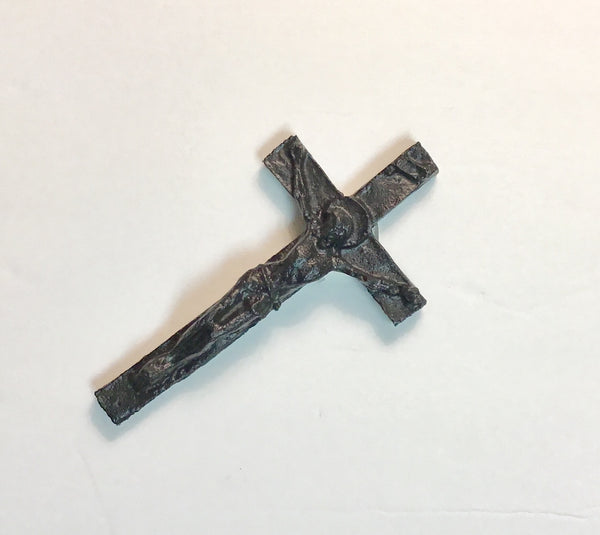 HANDCRAFTED COAL FLAT CRUCIFIX