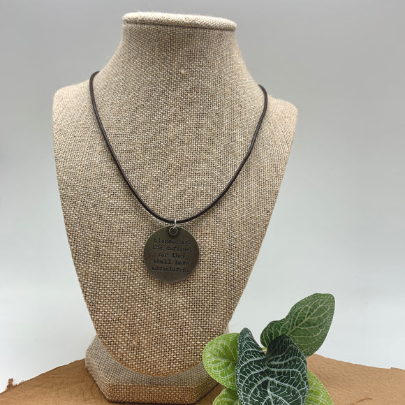 HANDMADE LEATHER CORD SAYING NECKLACE