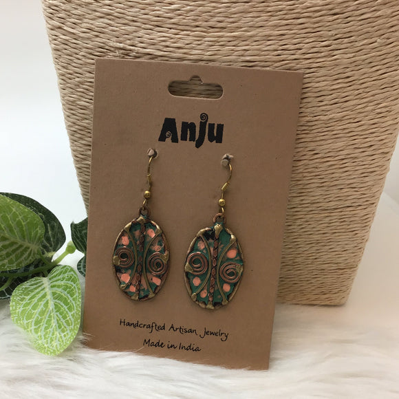 ANJU BLUE & COPPER PATINA HANDCRAFTED ARTISAN EARRINGS