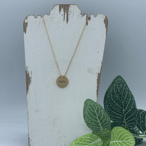 """FAITH"" GOLD CIRCLE STAMPED NECKLACE"