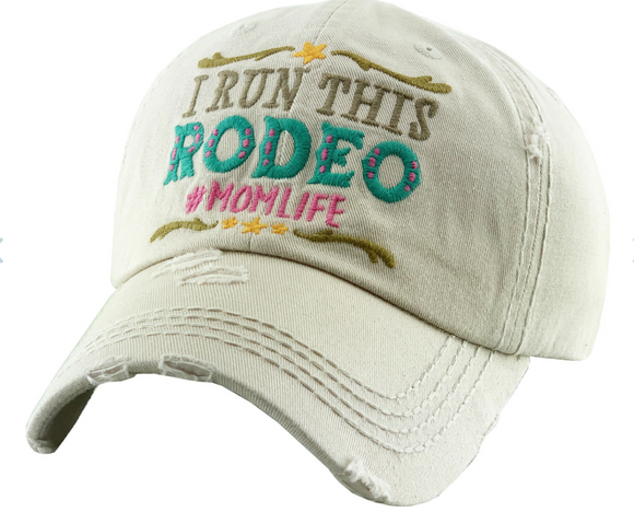 I RUN THIS RODEO MOM LIFE VINTAGE WASHED CAP/HAT