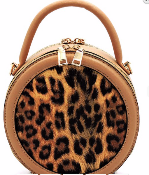 LEOPARD ROUND CROSSBODY - BROWN