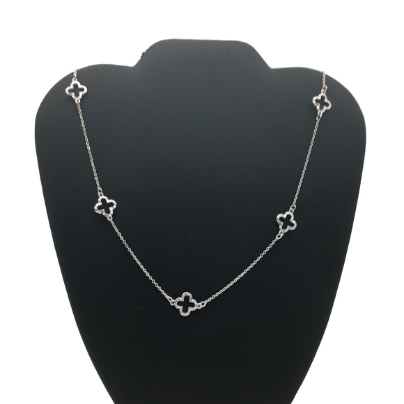 Sliver Cable Linked Chain Neckless With 5 Accent Pendants