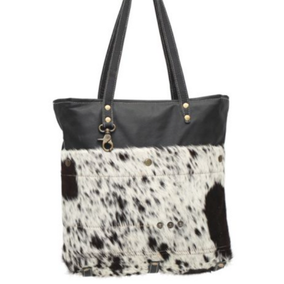 BLACK SHADES COWHIDE TOTE BAG by MYRA BAGS