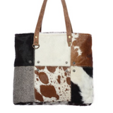 MULTI-PATCH COWHIDE TOTE BAG