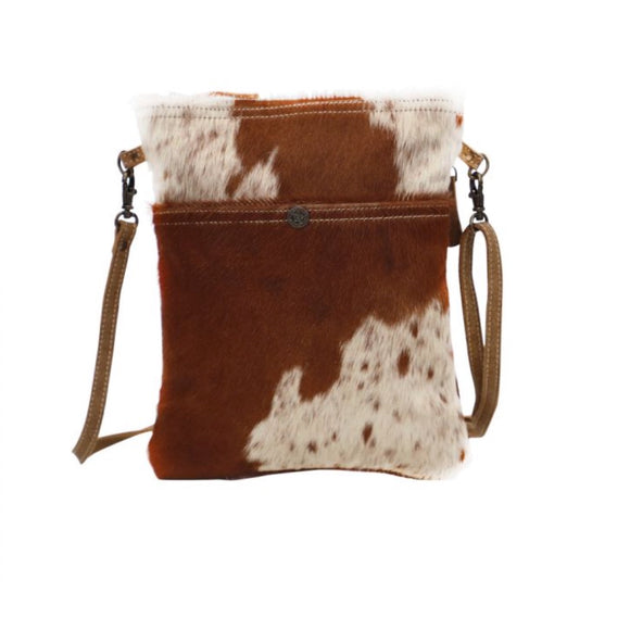 WHITE & COCOA COWHIDE CROSS BODY BAG by MYRA BAGS