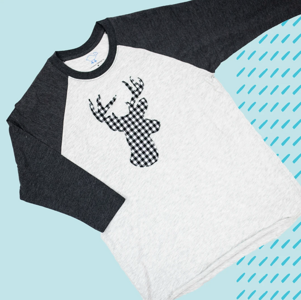 BUFFALO DEER APPLIQUE ON BLACK RAGLAN