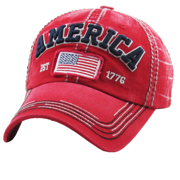 AMERICA BASEBALL CAP / HAT (RED)