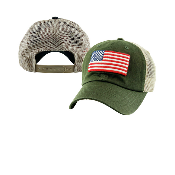 VINTAGE FLAG MESH BACK BASEBALL CAP / HAT