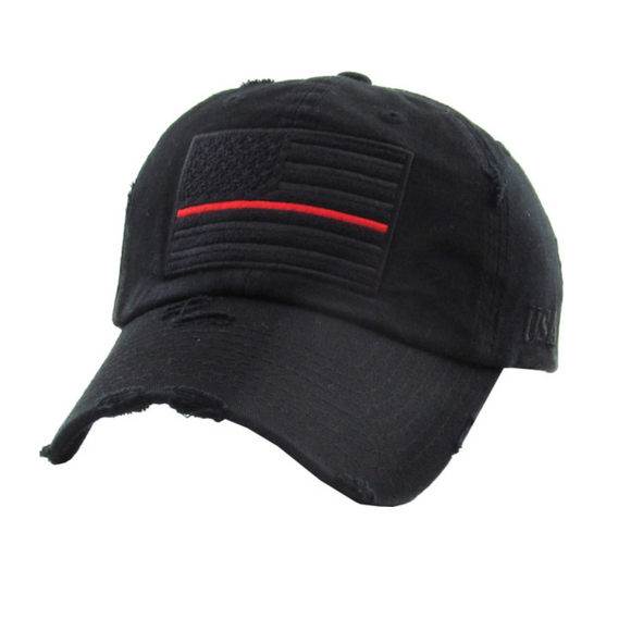 THIN RED LINE MUTED STYLE BASEBALL CAP / HAT