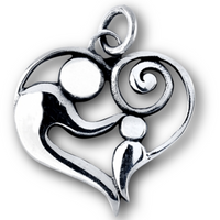 STERLING SILVER PARENT & CHILD HEART NECKLACE