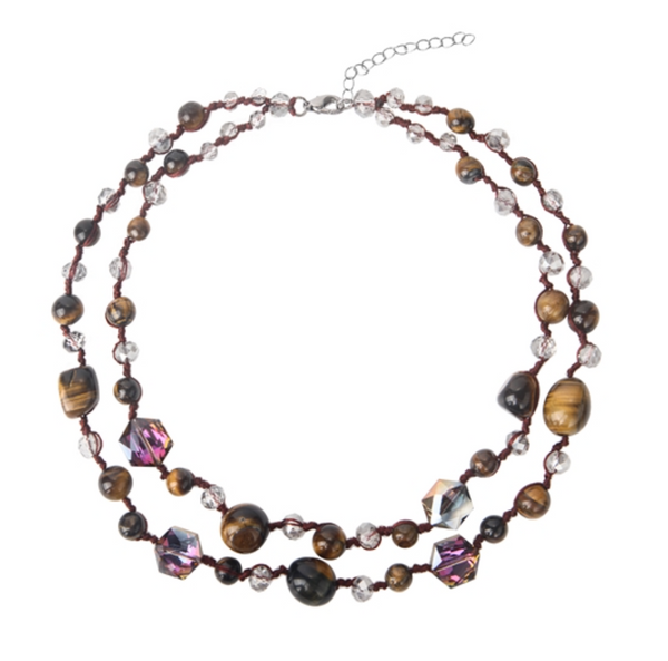 LAYERED TIGER EYE STONE NECKLACE
