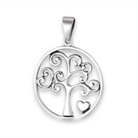 STERLING SILVER SWIRLED TREE OF LIFE PENDANT WITH HEART NECKLACE