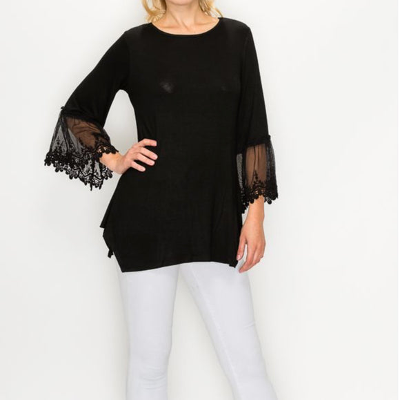 BLACK LACED SLEEVE TUNIC