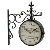 FINE WINES VINTAGE-INSPIRED DOUBLE SIDED WALL CLOCK
